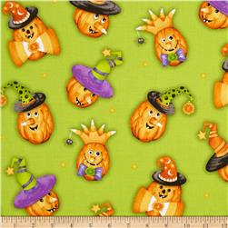 Happy Haunting Pumpkins Green Fabric