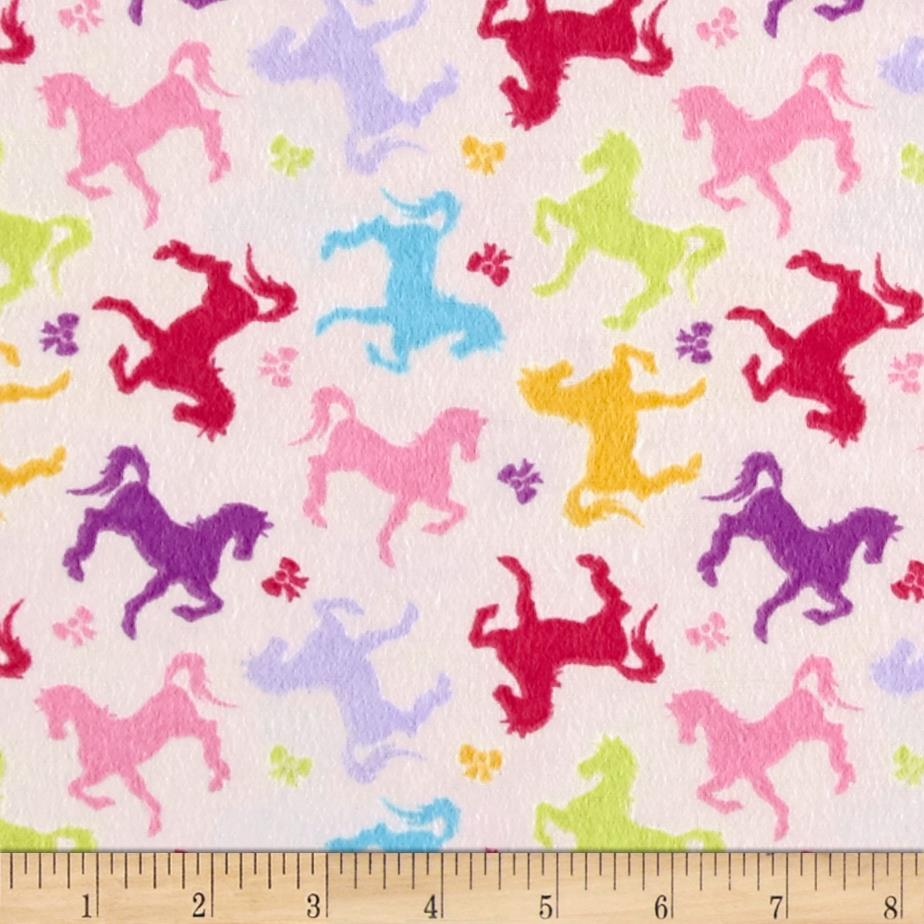 Sweet Horse Carousel Horses and Bows Flannel Cream/Multi
