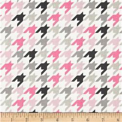 Riley Blake Medium Houndstooth Pink/Grey Fabric
