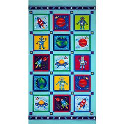 Rockets & Robots Panel Turquoise/Multi Fabric