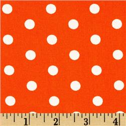 Kaufman Pimatex Basics Polka Dots Orange/White