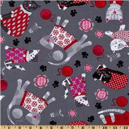 Kanvas Knitty Kitty Cozy Cats Grey Fabric