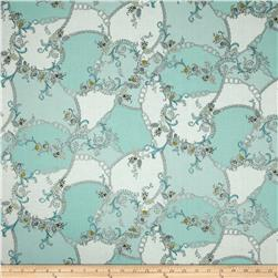 Antonella Metallic Patchwork Robins Egg/Silver Fabric