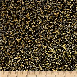 Robert Kaufman Winters Grandeur Metallic Small Vines Black