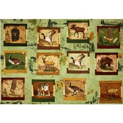 Wilderness Park Forest Animals Panel Green