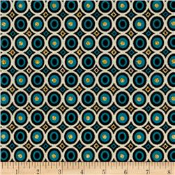 Rihan Jersey Knit Geometric Circles Gold/Teal
