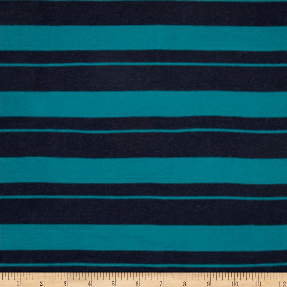 Ultra Stretch Rayon Jersey Knit Stripes Teal/Black
