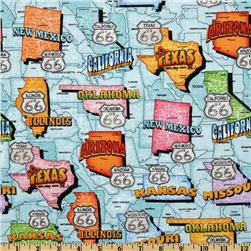 Get Your Kicks Route 66 Map Teal