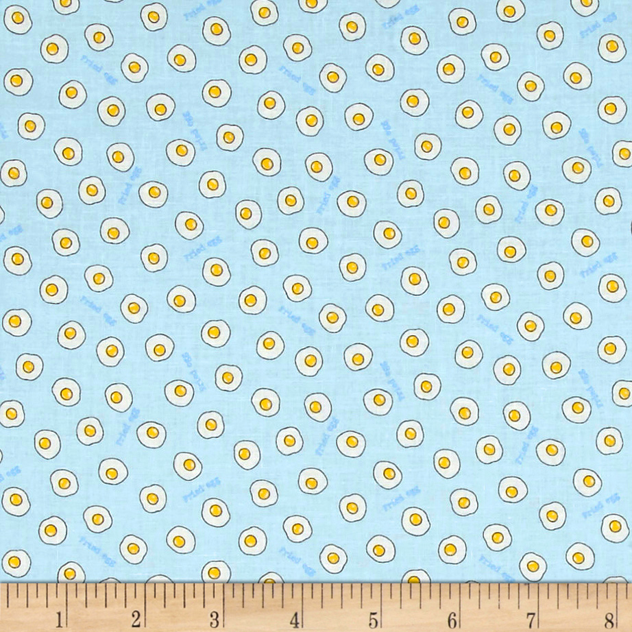 Lecien Minny Muu Fried Eggs Baby Blue Fabric
