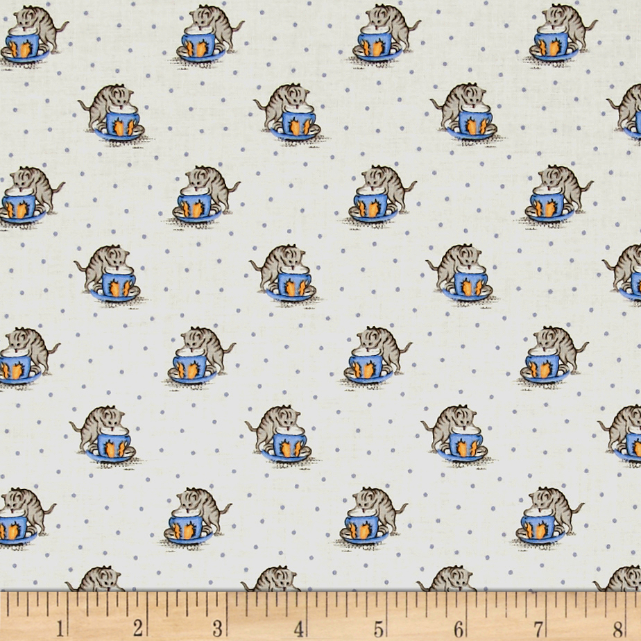 Marcus Aunt Grace Cats Blue Fabric by Marcus in USA