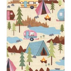 Timeless Treasures Flannel Camping Scenic Cream