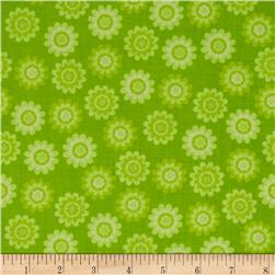 Let's Play Dolls Daisy Flower Dot Green Fabric