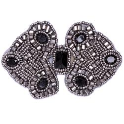 Beaded Double Diamond Applique Gunmetal