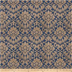 Fabricut Ledger Damask Faux Silk Navy