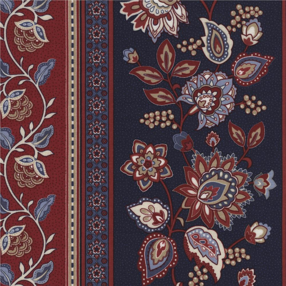 Timeless Treasures Americana Jacobean Floral Border Stripe Navy