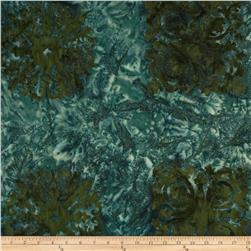 Bali Batik Handpaints Tiles Panel Evergreen Fabric