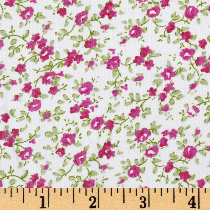 Printed Corduroy 21 Wale Floral White/Pink