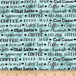 Coffee House Coffee Words Light Teal