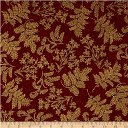 Berries and Blooms Metallic Christmas Thistle Burgundy/Gold