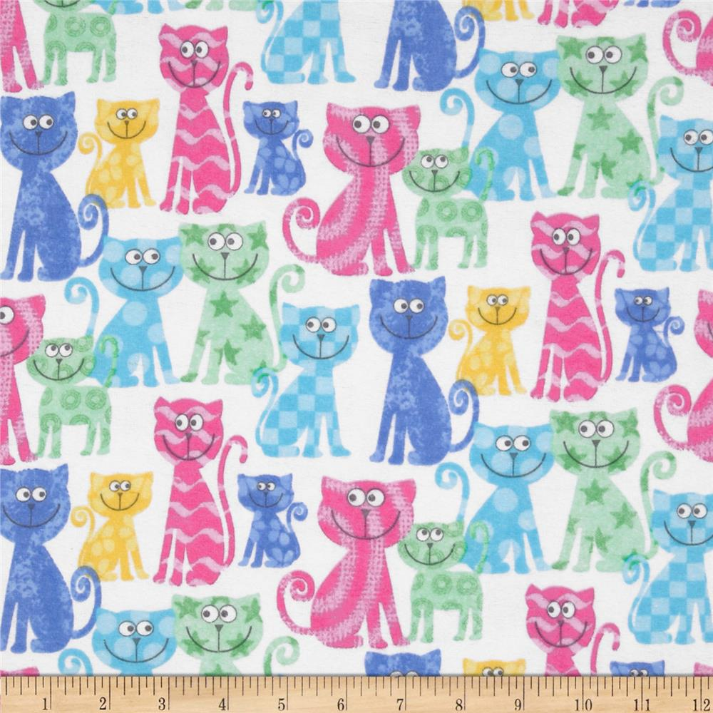 Comfy Flannel Cats White/Pastel