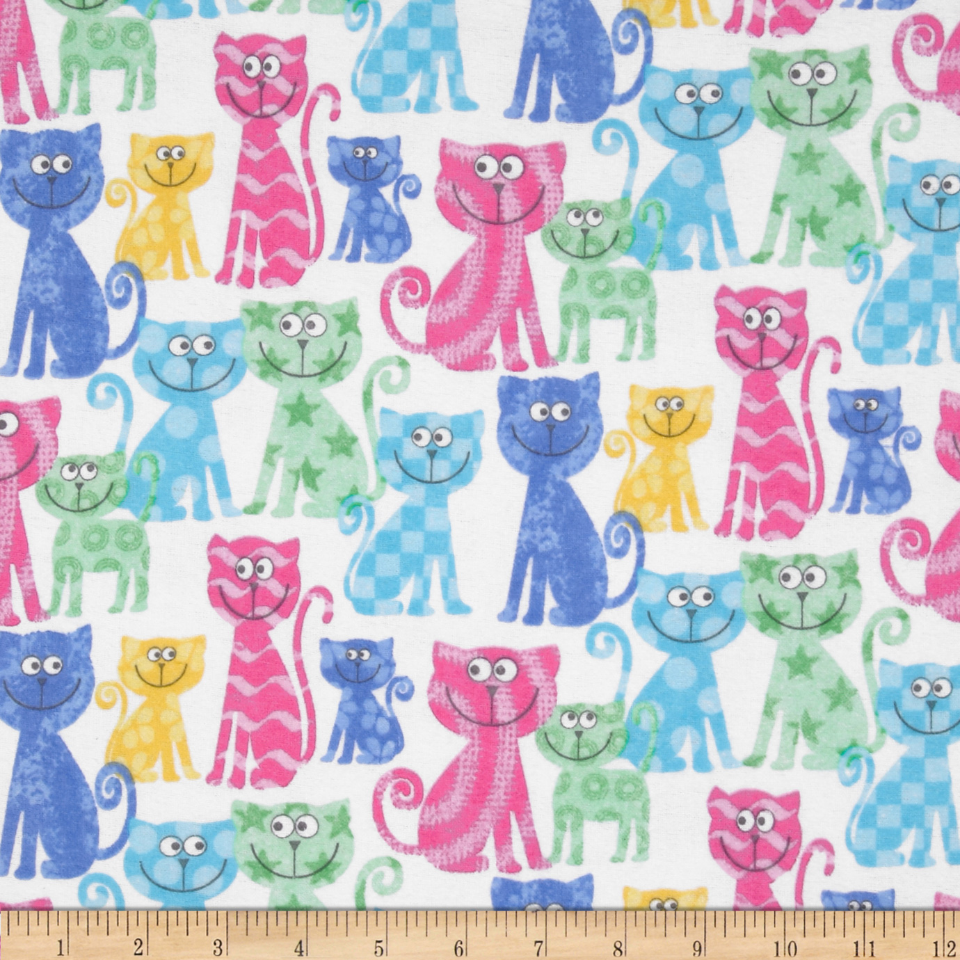 Comfy Flannel Cats White/Pastel Fabric
