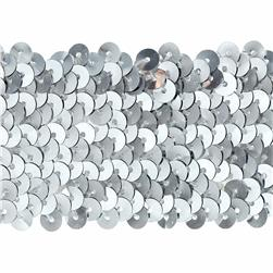 1-3/4'' Stretch Metallic Sequin Trim Silver