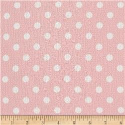 Bubble Crepe Medium Polka Dots Light Pink/White