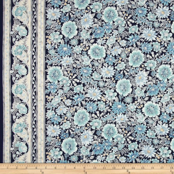 Kaufman Tuscan Wildflower Metallic Tuscan Border Copen
