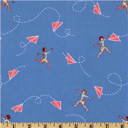 Michael Miller Children At Play Flannel Chasing Airplanes Blue