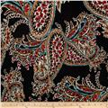 Venice Stretch ITY Jersey Knit Paisley Black