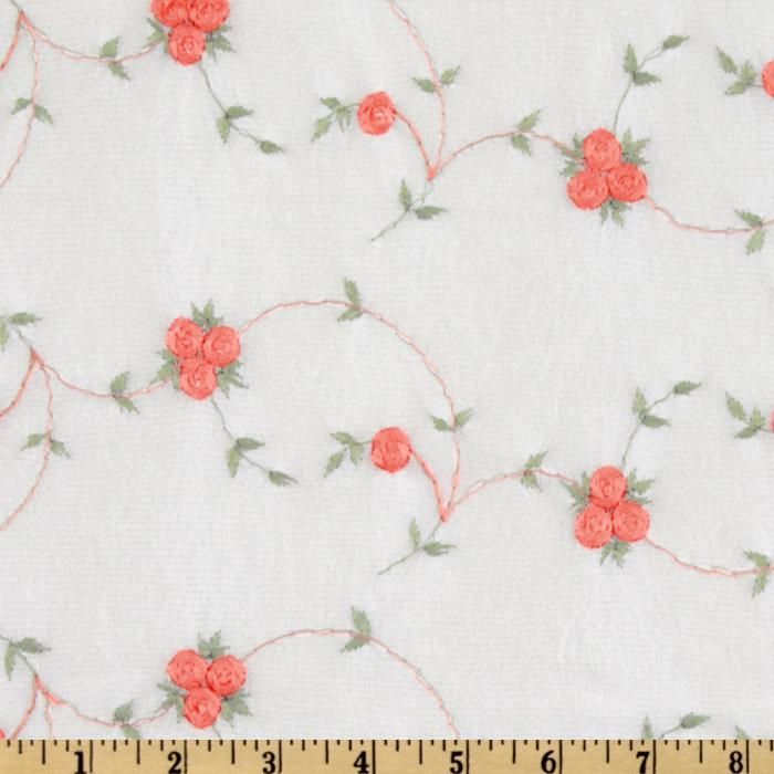 Embroidered Chiffon Knit Rose White