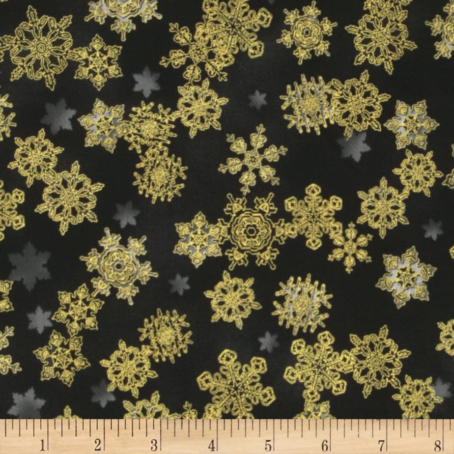 Winter's Grandeur Metallic Snowflake Charcoal