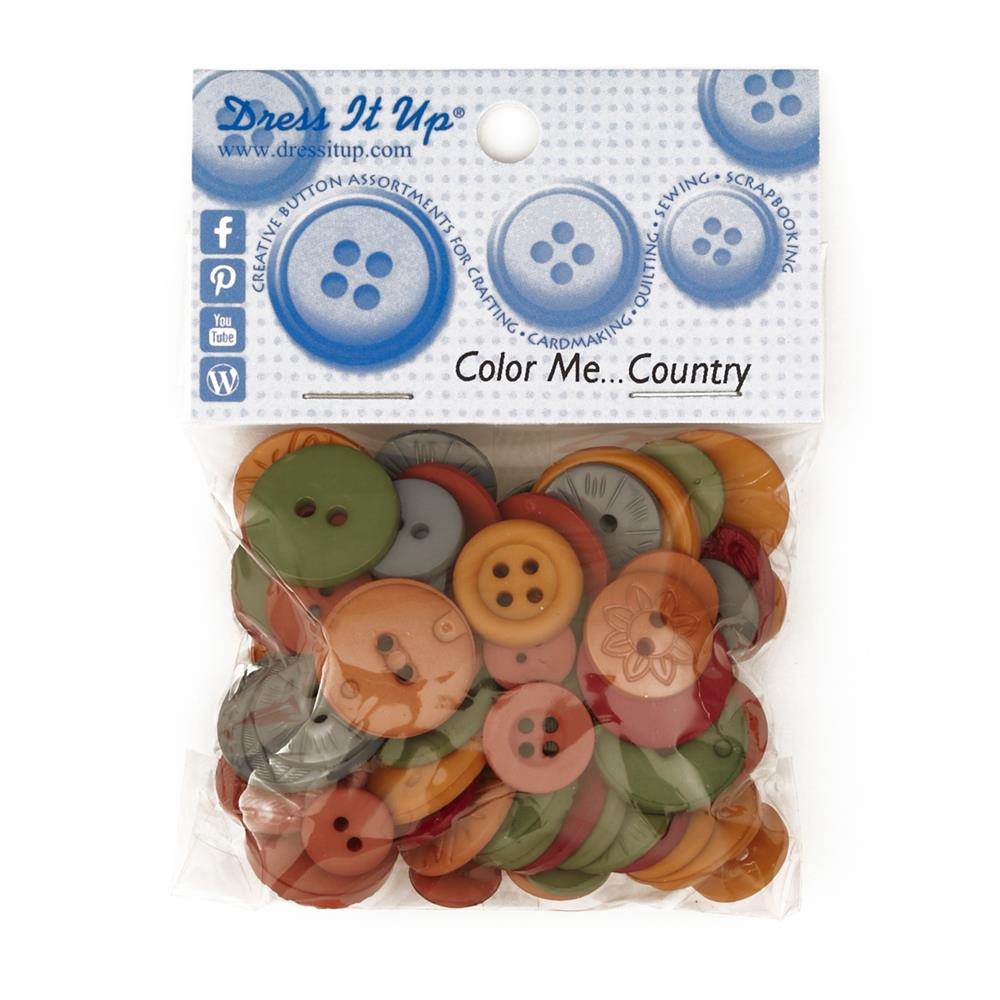 Dress It Up Color Me Collection Buttons Country Multi