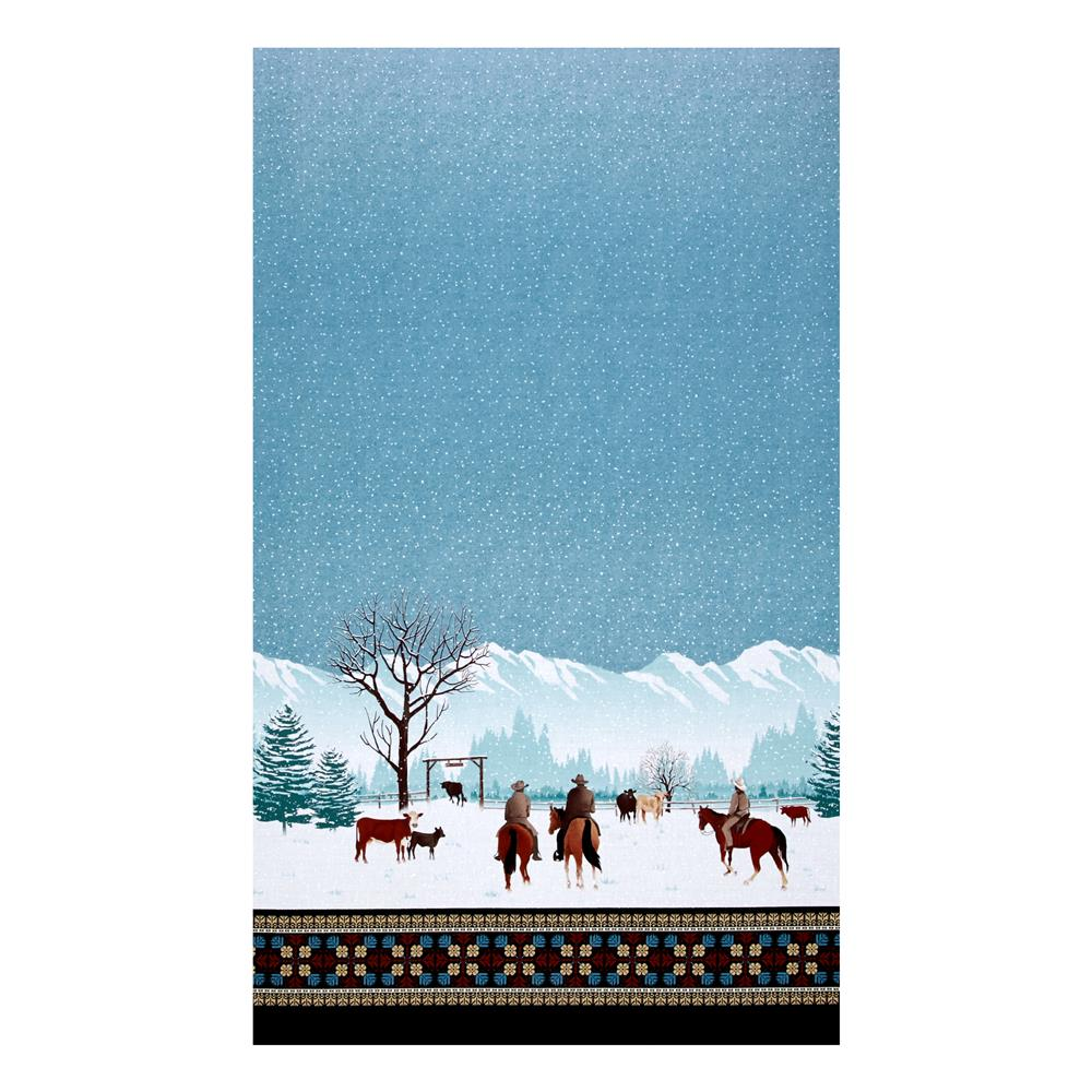 "Michael Miller Winter On The Range Border  23.5"" Panel Aqua"