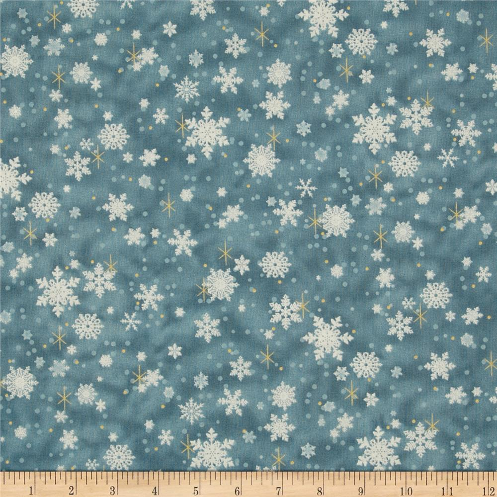 Father Christmas Metallic Snowflakes Blue