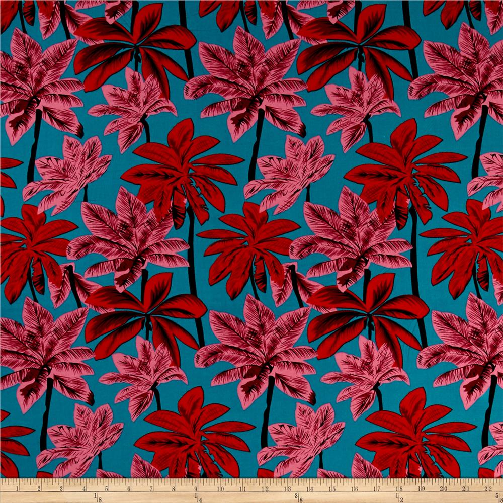 Rayon challis tropical prints red pink green discount for Rayon fabric