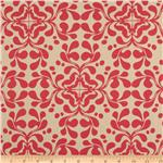 Home Decor Cotton Twill Flourish Coral