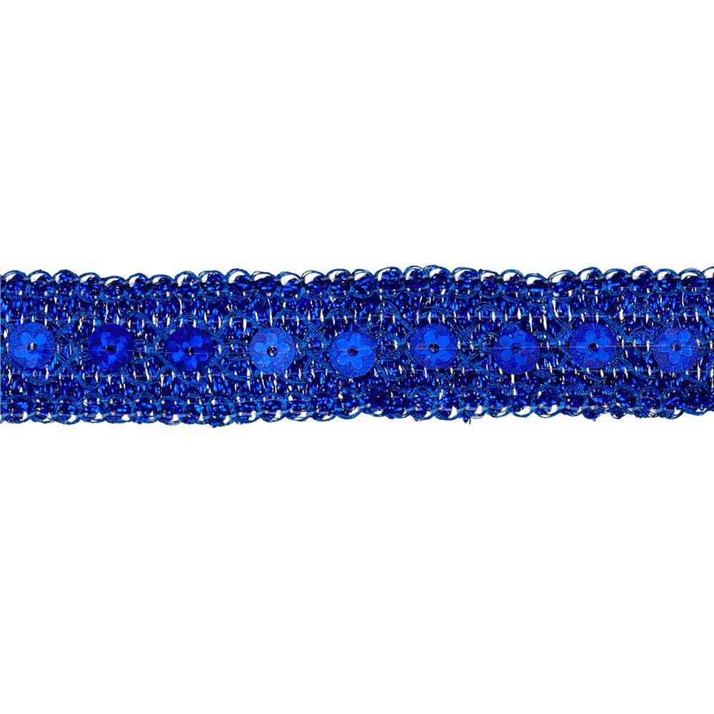"3/4"" Adriana Metallic Sequin Braid Trim Roll Royal Blue"