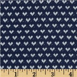 Jersey Knit Hearts Navy/White
