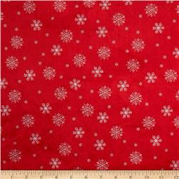 Minky Snowflake Red
