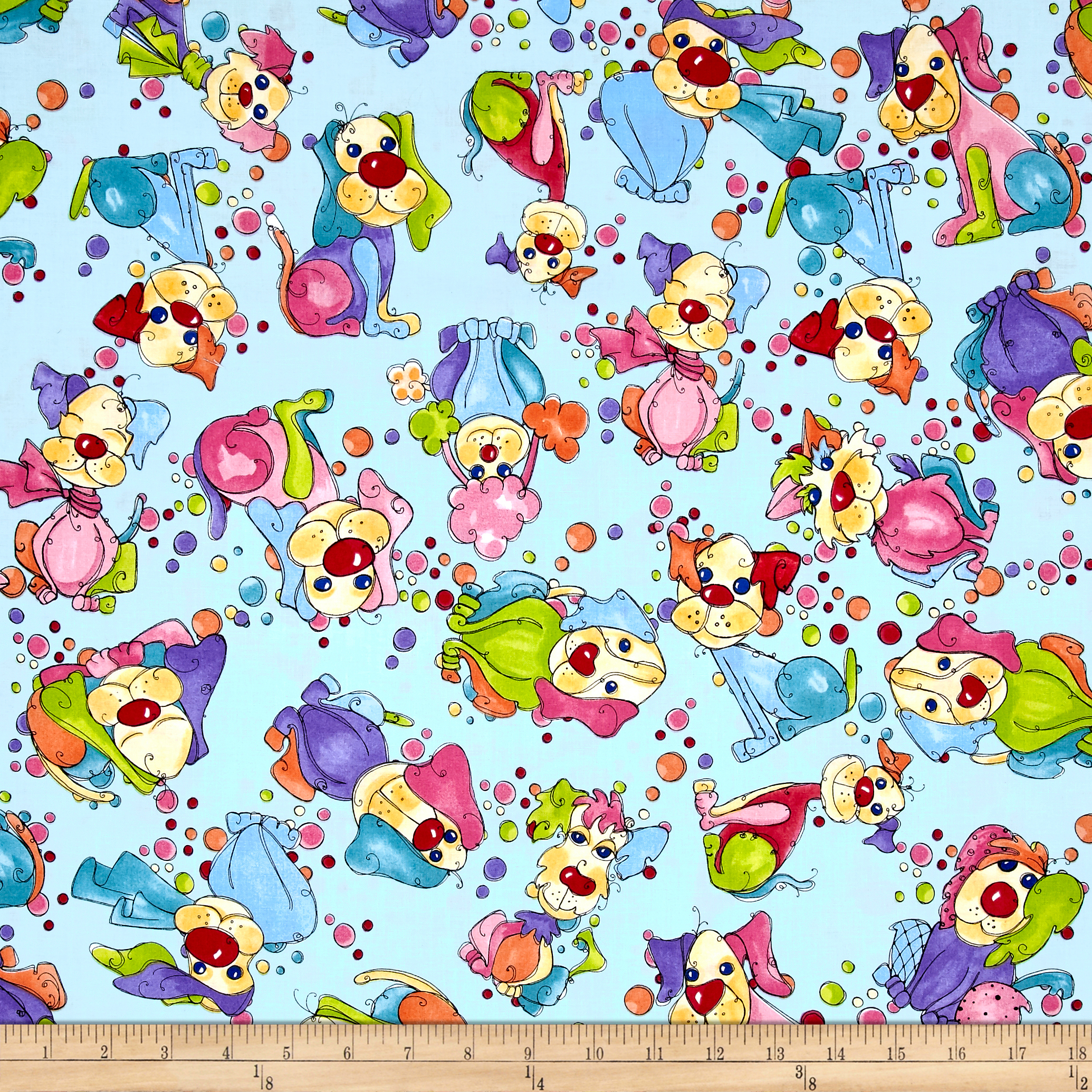Loralie Designs Dog Gone Dottie Dogs Turquoise Fabric