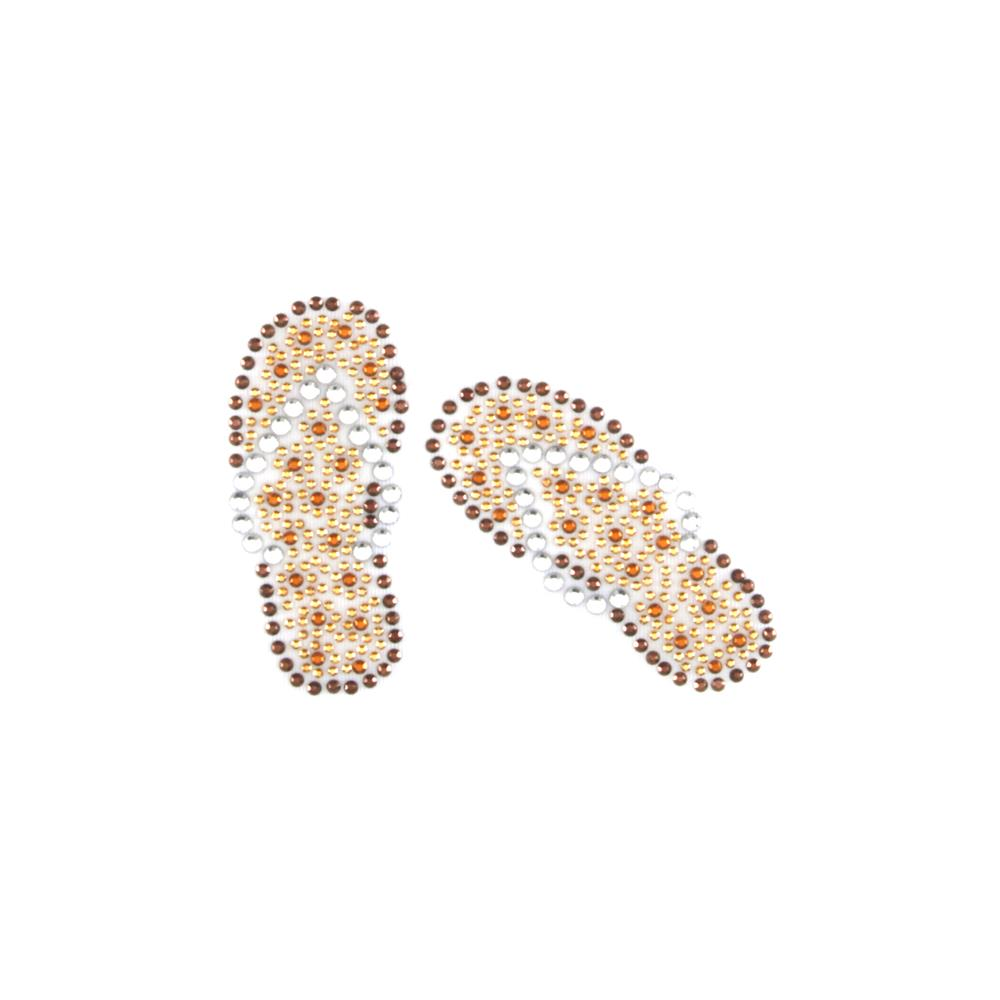 Flip Flops Rhinestud Applique Brown