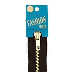 "Coats & Clark Fashion Brass Closed Bottom Zipper 9"" Cloister Brown"