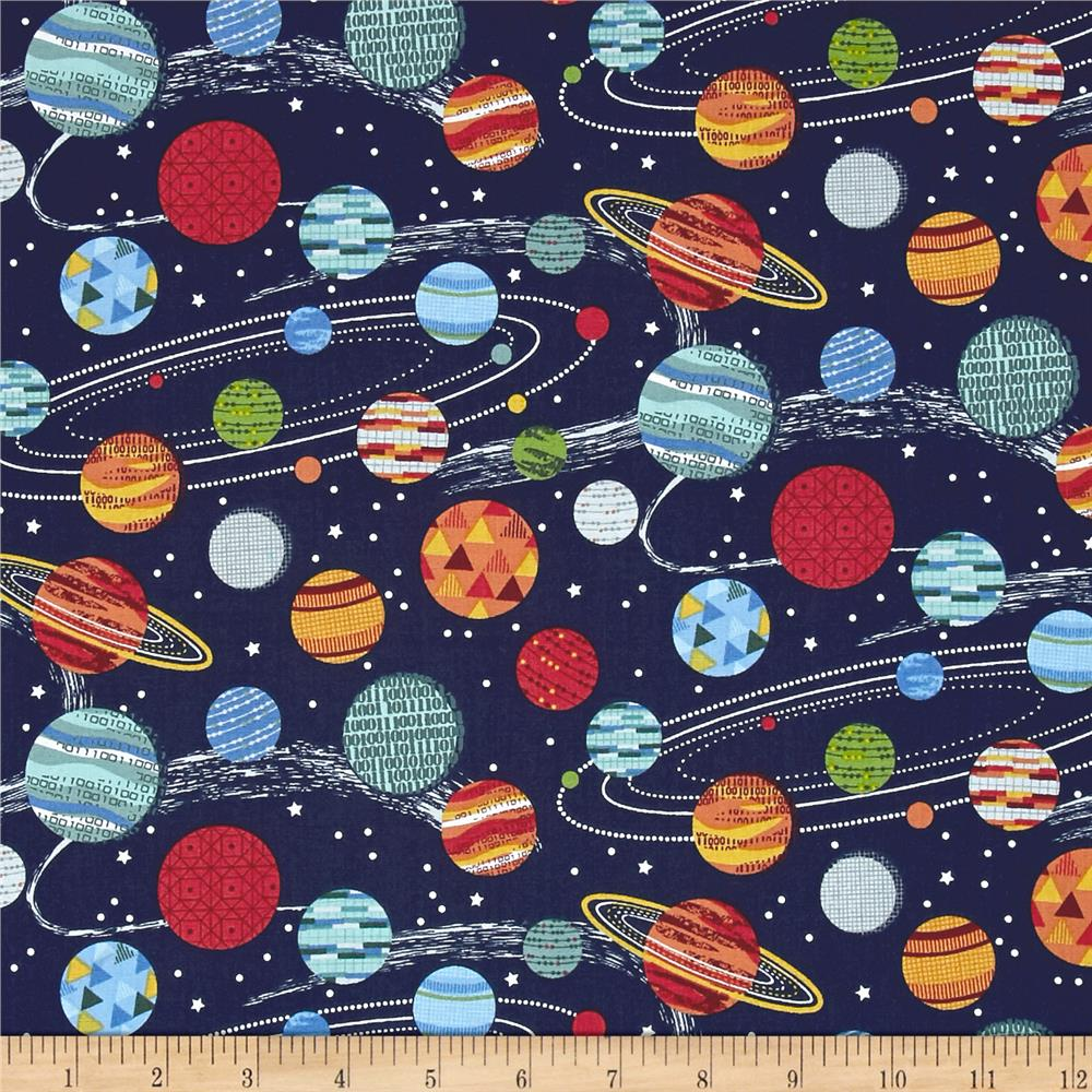 Andover galaxy planets black discount designer fabric for Planet print fabric