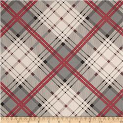 Stretch Satin Charmeuse Plaid Red/Grey