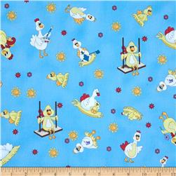 Eggcellent Adventure Tossed Chickens Blue Fabric