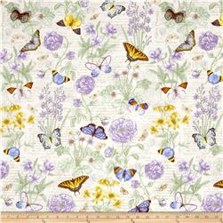 Butterfly Botanical Floral w/ Butterflies Purple