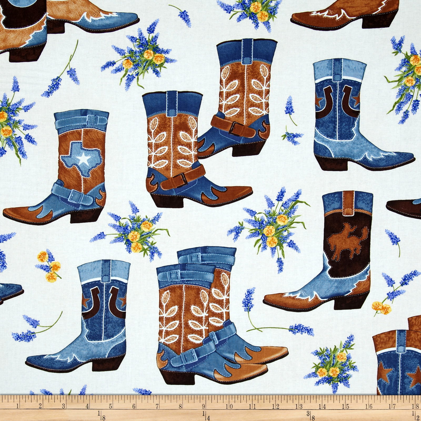 Greetings from Texas Boots Denim Fabric