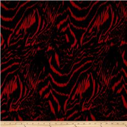 Poly Challis Abstract Animal Print Red/Black