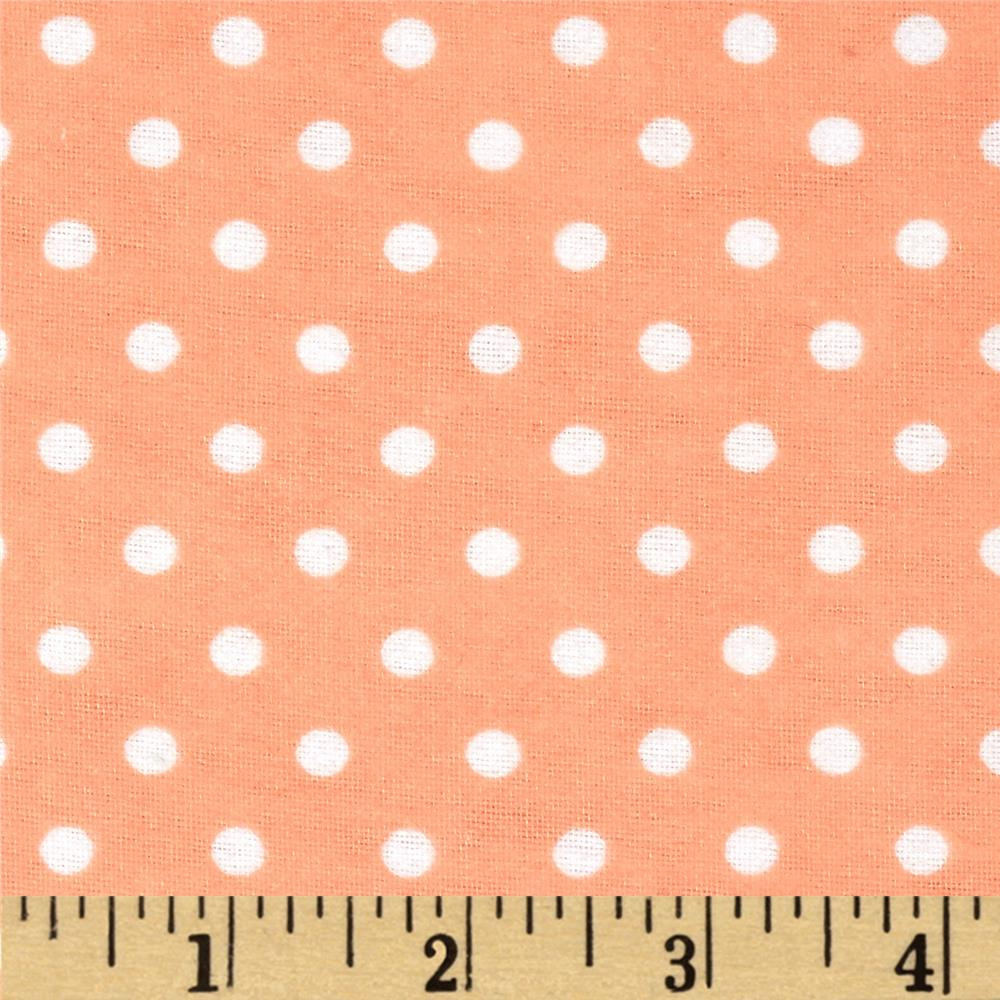 Aunt Polly's Flannel Small Polka Dots ApricotWhite